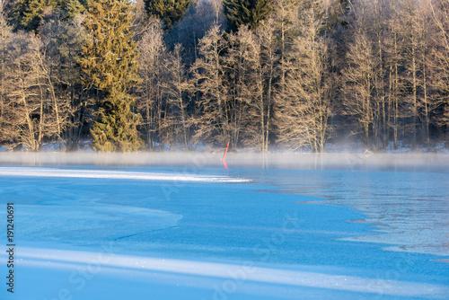 Foto op Aluminium Blauw ice and water in a frozen lake in sweden