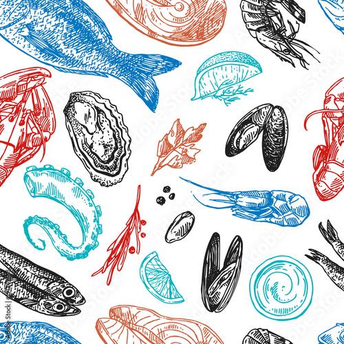 Fototapeta Hand drawn vector illustration sea food. Vintage sketch style.