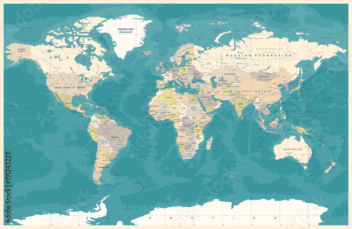 vintage-political-topographic-colored-world-map-vector