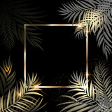 Beautifil Palm Tree Leaf Golden Silhouette Background with Frame Vector Illustratio