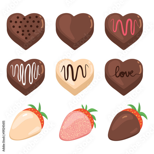 Set Collection Of Different Saint Valentine Chocolate Heart Shape