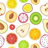 Seamless pattern fruits. Slice apple, kiwi, lemon, orange, mango, avocado