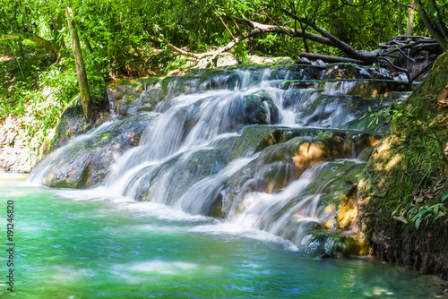 Beautiful summer landscape over the famous hot streams into the forest of Krabi region, Thailand