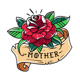 Tattoo red rose with ribbon and lettering mother. Old school style.