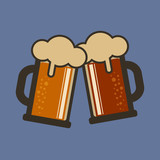Cheers with beers. Two mugs of ale - 191248406