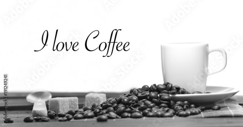 Foto op Plexiglas Koffiebonen tazza di caffè e chicchi di caffè