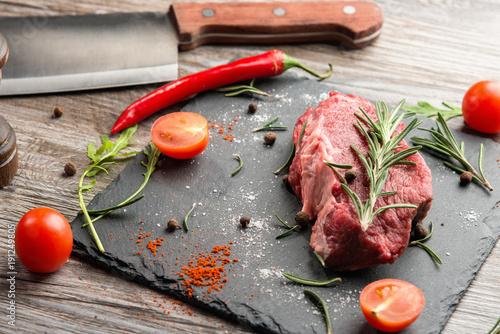 Papiers peints Steakhouse Raw ribeye beefsteak cooking