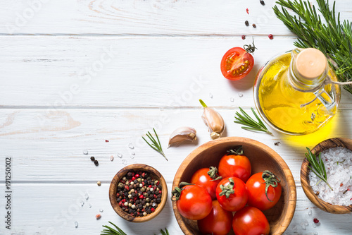 Food background on white wooden table. - 191250002