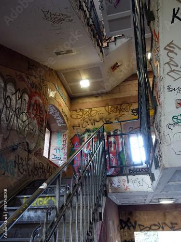 Graffiti am Aufgang zu Kölner Südbrücke