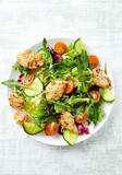 Chicken salad with leaf vegetables and cherry tomatoes - 191254823