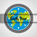 earth hour round clock globe world celebration event vector illustration - 191257450