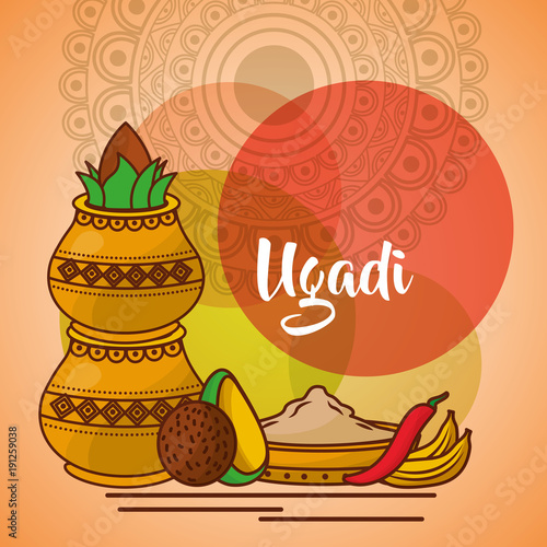 uappy ugadi template greeting card set ccessories pot coconut vector