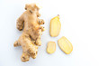 fresh ginger on white background - 191260860