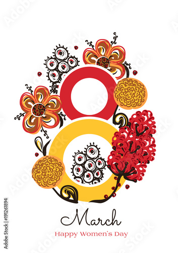 Foto op Canvas Bloemen vrouw 8 March. Happy Women's Day. Floral figure of eight. Spring holiday. Creative hand drawn colorful abstract flowers. Design of card, postcard, poster or invitation. Size A4. Vector illustration, eps10