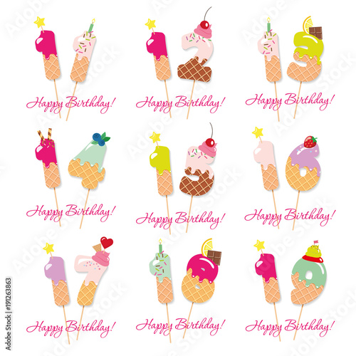 Birthday Cards Set Festive Sweet Numbers From 11 To 19 Coctail