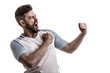 roleta: Fan / Sport Player on white uniform celebrating