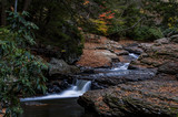Scenic Small Roadside Waterfall in Autumn Colors - Pennsylvania - 191269402