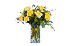 Yellow Roses Vase   Sticker