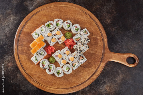 Keuken foto achterwand Sushi bar Big set of japanese food sushi maki rolls
