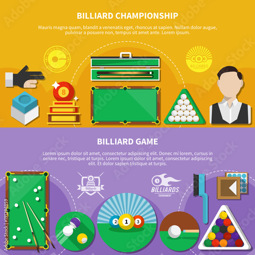 Billiard Game Horizontal Banners