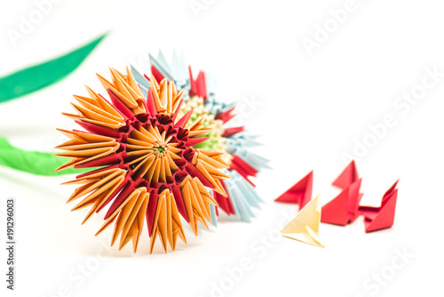 Modular origami flowers with modules isolated on white background modular origami flowers with modules isolated on white background mightylinksfo