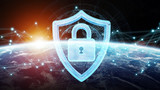 Cyber security on planet Earth 3D rendering - 191296818