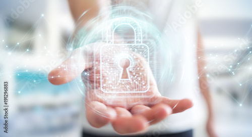 Businessman using digital padlock with data protection 3D rendering - 191296883