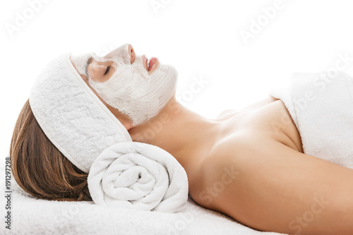 Woman with face mask relaxing