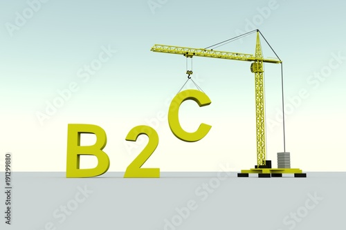 B2C building concept crane white background 3d illustration