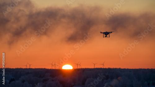 Foto op Aluminium Oranje eclat Drone and sunset