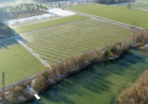 Foto Murales Aerial photographs, new drainage strands for draining arable land in spring