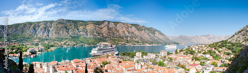 Aluminium Schip Aerial panorama of town and Bay of Kotor