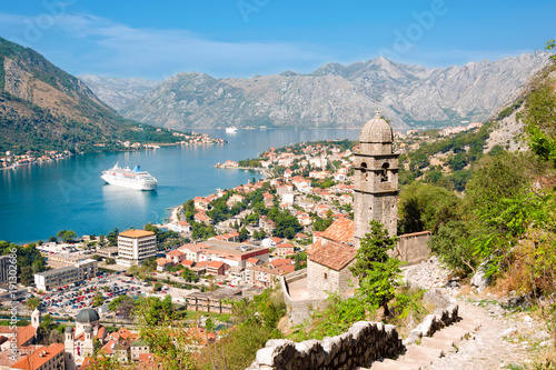 Keuken foto achterwand Schip Aerial view to Kotor town in Montenegro