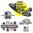 Skateboard set for logo and emblems.