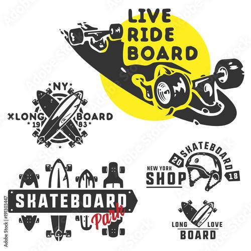 Fotobehang Skateboard Skateboard set for logo and emblems.