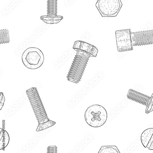 Bolts and screws. Hand drawn sketch as seamless pattern