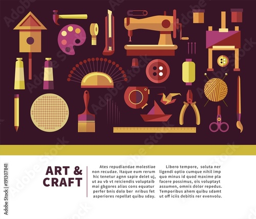 Art and craft promotional info poster with special equipment