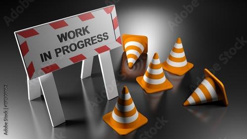 Work in progress sign with traffic cones - 3D rendering