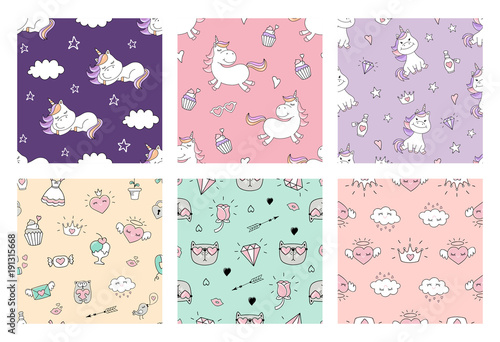 Cute seamless patterns with unicorn and love doodles. Vector set