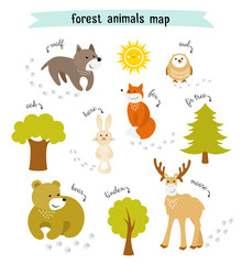 Forest animals vector map with trees and animal footprints