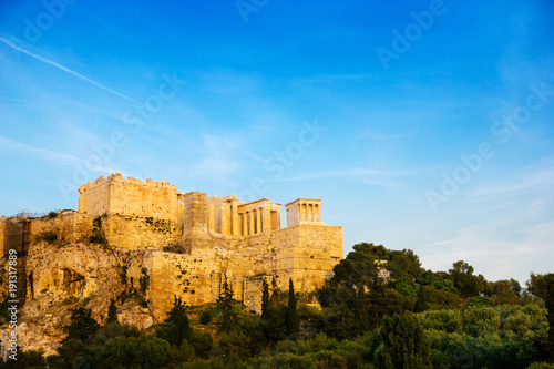 view of Historic Old Acropolis of Athens, Greece