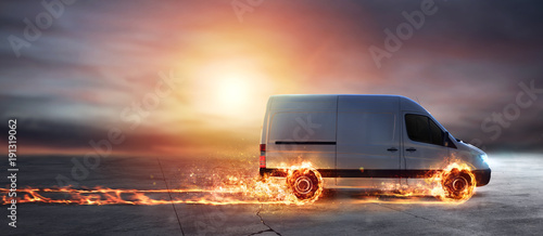 Zobacz obraz Super fast delivery of package service with van with wheels on fire