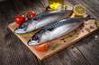 Fresh mackerel on wooden background