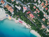 Aerial view on the beach, sea and resort town