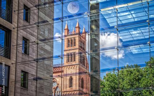 Fotobehang Berlijn Friedrichswerder Church in Berlin, shot through the glass wall from inside the modern building