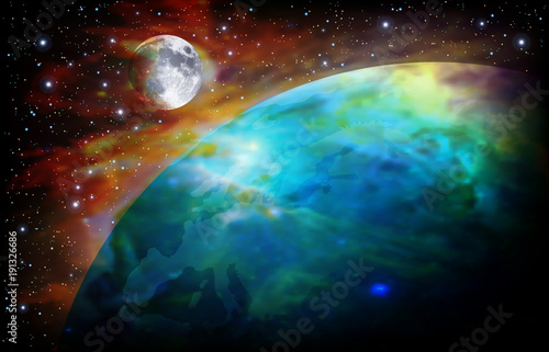 Fototapeta abstract space background with earth and moon