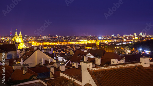 Poster Bruin beautiful view of the city of Prague at evening, Czech Republic