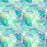 Seamless abstract polygonal geometric pattern.Turquoise, gray, green triangles.  - 191329896