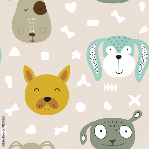 Fototapeta Seamless vector childish pattern with dog animal faces as backround or texture