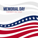 Memorial day with abstract United States flag background vector design - 191332286